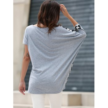 Rhombus Pattern Laconic Scoop Neck Batwing Sleeve Women's T-Shirt - ONE SIZE ONE SIZE