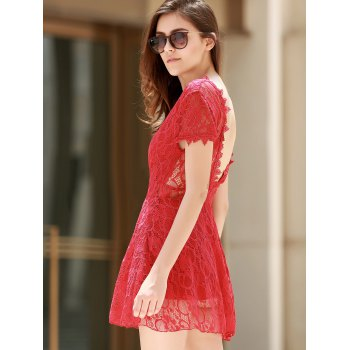 Backless Short Sleeve Lace Dress For Women - RED S