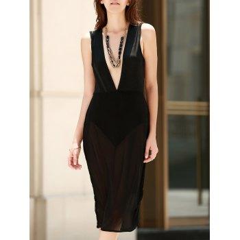 Alluring Women's See-Through Plunging Neck Sleeveless Dress