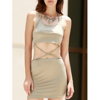 Alluring Scoop Collar Sleeveless Cut Out Solid Color Women's Club Dress