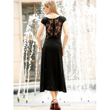 Women's Charming Solid Color Side Furcal Lace Splicing Sleeveless Bodycon Dress - L L