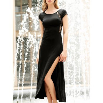 Women's Charming Solid Color Side Furcal Lace Splicing Sleeveless Bodycon Dress