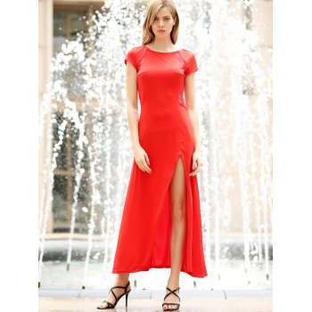 Women's Charming Solid Color Side Furcal Lace Splicing Sleeveless Bodycon Dress - RED XL
