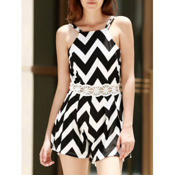 Sexy Spaghetti Strap Sleeveless Backless Wave Print Women's Romper