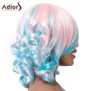 Adiors Curly Side Bang High Temperature Fiber Wig For Women - BLUE/PINK