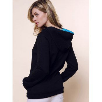 Fashionable Long Sleeve Front Pockets Buttons Design Solid Color Hoodie - BLACK XL