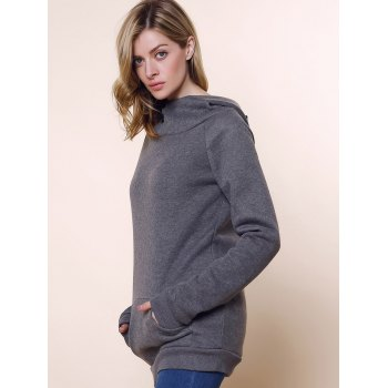 Fashionable Long Sleeve Front Pockets Buttons Design Solid Color Hoodie - M M