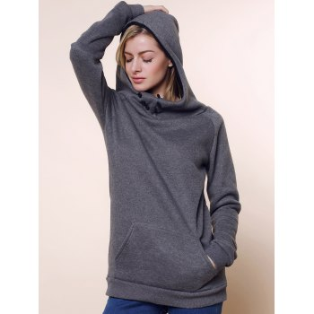 Fashionable Long Sleeve Front Pockets Buttons Design Solid Color Hoodie - GRAY M