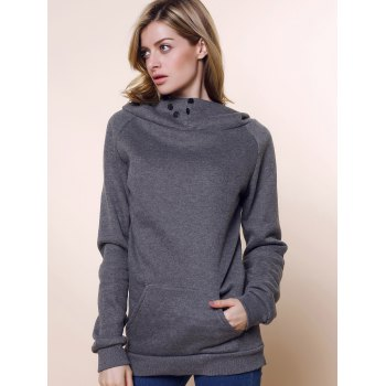 Fashionable Long Sleeve Front Pockets Buttons Design Solid Color Hoodie - L L