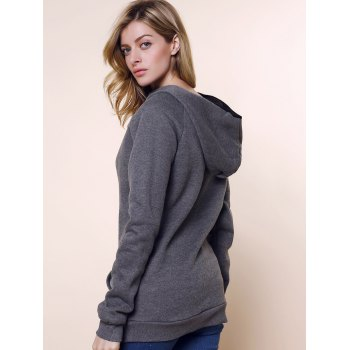 Fashionable Long Sleeve Front Pockets Buttons Design Solid Color Hoodie - XL XL