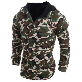 Loose Fit Hooded Fashion Multi-Pocket Camo Pattern Long Sleeve Men's Thicken Cotton Blend Coat - ARMY GREEN ARMY GREEN