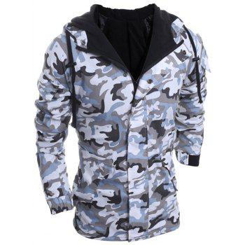 Loose Fit Hooded Fashion Multi-Pocket Camo Pattern Long Sleeve Men's Thicken Cotton Blend Coat