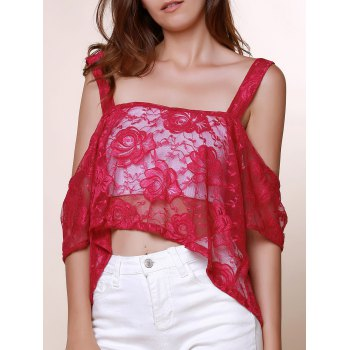Sexy Square Neck 3/4 Sleeve Low Cut See-Through Lace Women's Blouse