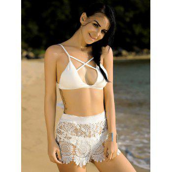 Stylish Women's Crochet Scalloped Cover-Up Shorts