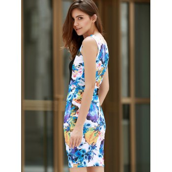 Scoop Neck Sleeveless Floral Print Slimming Women's Dress - COLORMIX COLORMIX