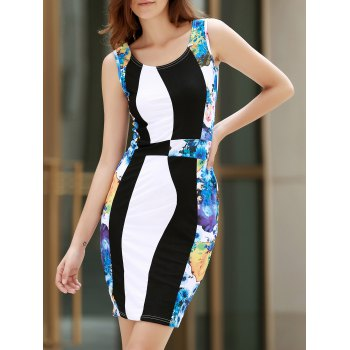 Scoop Neck Sleeveless Floral Print Slimming Women's Dress