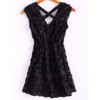 Sexy Stereoscopic Rose Backless Cross Short Sleeve Dress For Women - BLACK M