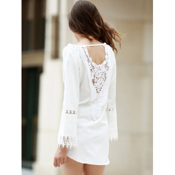 Crochet Panel Long Sleeve Casual Tunic Dress - WHITE S