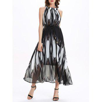 Fashionable Sleeveless Stand Collar Chiffon Printed Women's Dress