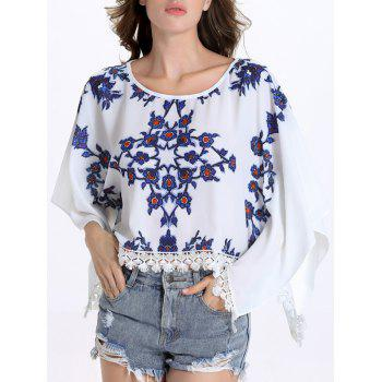 Chic Batwing Sleeve Round Collar Fringed Floral Print Women's Blouse - WHITE WHITE