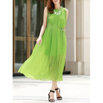 Rope Belt Pleated Sleeveless Dress