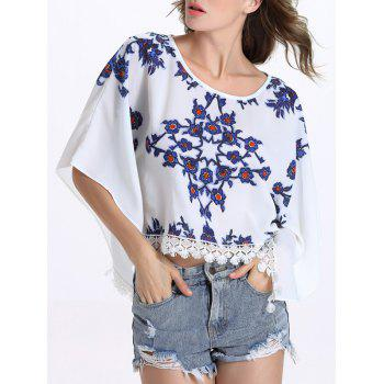 Chic Batwing Sleeve Round Collar Fringed Floral Print Women's Blouse - XL XL