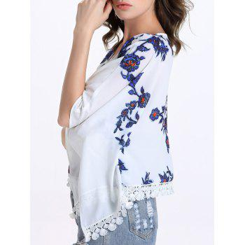 Chic Batwing Sleeve Round Collar Fringed Floral Print Women's Blouse - WHITE L