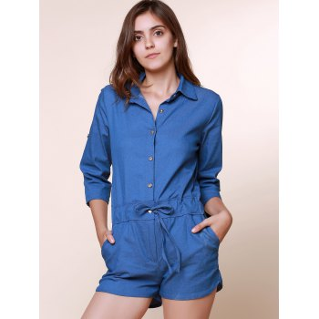 Vintage Shirt Collar Pure Color 3/4 Sleeve Lace-Up Jeans Romper For Women - AS THE PICTURE AS THE PICTURE