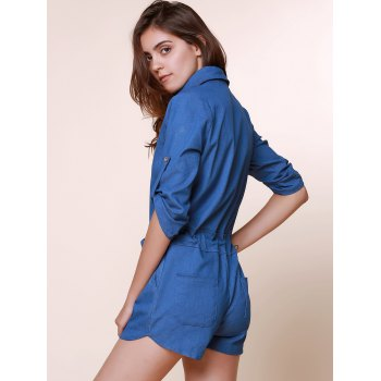 Vintage Shirt Collar Pure Color 3/4 Sleeve Lace-Up Jeans Romper For Women - L L