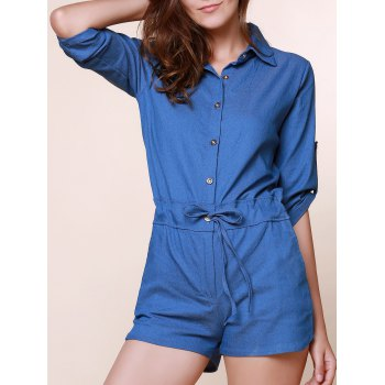 Vintage Shirt Collar Pure Color 3/4 Sleeve Lace-Up Jeans Romper For Women