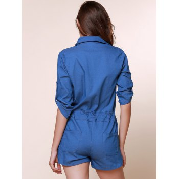 Vintage Shirt Collar Pure Color 3/4 Sleeve Lace-Up Jeans Romper For Women - DENIM BLUE DENIM BLUE