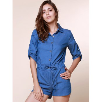Vintage Shirt Collar Pure Color 3/4 Sleeve Lace-Up Jeans Romper For Women - XL XL