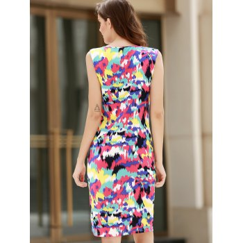 Sexy Sleeveless Scoop Neck Colorful Women's Dress - 2XL 2XL