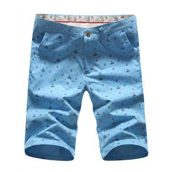 Men's Casual Zip Fly Printed Plus Size Shorts