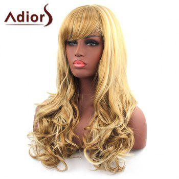 Sparkling Side Bang Synthetic Long Fluffy Wavy Capless Adiors Wig For Women - COLORMIX