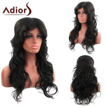 Beautiful Black Inclined Bang Centre Parting Fluffy Curly Synthetic Capless Adiors Wig For Women