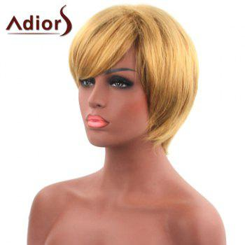 Sparkling Short Straight Synthetic Golden Inclined Bang Capless Adiors Wig For Women - GOLDEN