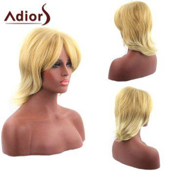 Sparkling Short Upwards Synthetic Golden Inclined Bang Capless Adiors Wig For Women