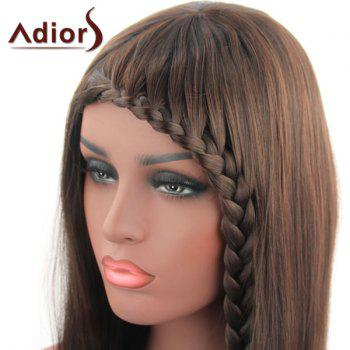 Sweet Long Straight With Braid Synthetic Tail Adduction Women's Capless Adiors Wig - DEEP BROWN