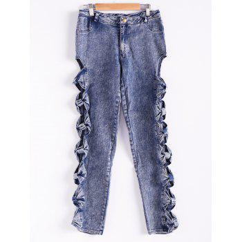 Stylish Mid-Waisted Hollow Out Denim Side Bowknot Embellished Women's Jeans