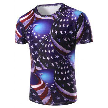 Men's 3D Stripe and Star Printed Round Neck Short Sleeve T-Shirt