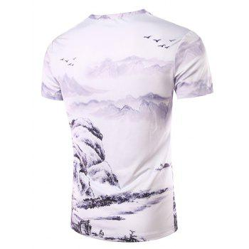 Men's 3D Ethnic Style Printed Round Neck Short Sleeve T-Shirt - COLORMIX XL