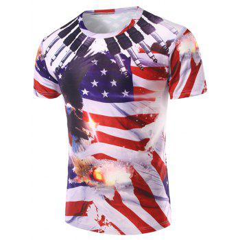 Men's 3D Flag Printed Round Neck Short Sleeve T-Shirt