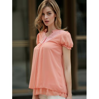 Lace Splicing Solid Color Sweet Style Chiffon Stand Collar Short Sleeves Women's Blouse - ORANGEPINK S