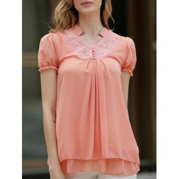 Lace Splicing Solid Color Sweet Style Chiffon Stand Collar Short Sleeves Women's Blouse