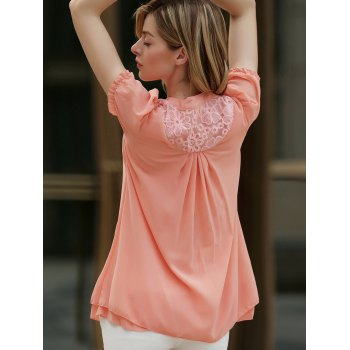 Lace Splicing Solid Color Sweet Style Chiffon Stand Collar Short Sleeves Women's Blouse - S S