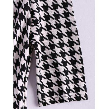 Women's Charming Checked Furcal Embellished Half Sleeves Bodycon Dress - BLACK M