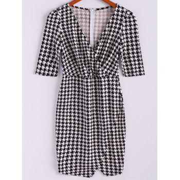 Women's Charming Checked Furcal Embellished Half Sleeves Bodycon Dress