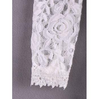 Elegant Openwork Long Sleeves Flouce Lace Women's Blouse - IVORY IVORY