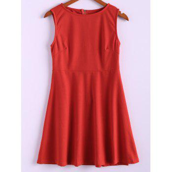 Simple Style Polyester Round Neck Zipper Sleeveless Women's Dress (Without Belt)